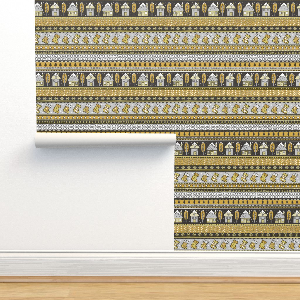 Isobar Durable Wallpaper featuring Winter Holidays Christmas Houses, Socks, Snowflakes, Stars,Dots Stripes Mustard Yellow by caja_design