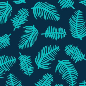 Tropical summer palm leaves garden blue