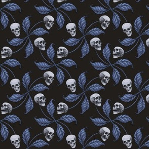 ★ DENIM CHERRY SKULL ★ Small Scale / Collection : Cherry Skull - Rock 'n' Roll Old School Tattoo Print
