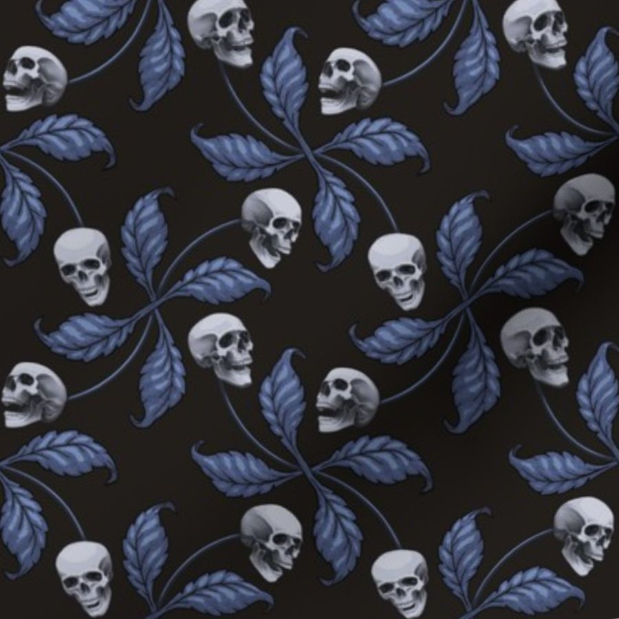 aafd81d3830 Fabric by the Yard ★ DENIM CHERRY SKULL ★ Large Scale / Collection : Cherry  Skull - Rock 'n' Roll Old School Tattoo Print
