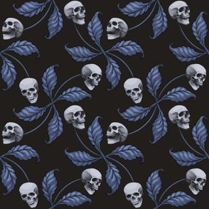 ★ DENIM CHERRY SKULL ★ Large Scale / Collection : Cherry Skull - Rock 'n' Roll Old School Tattoo Print