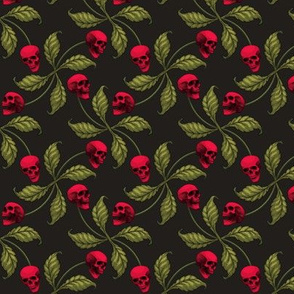 ★ ROCKABILLY CHERRY SKULL ★ Small Scale / Collection : Cherry Skull - Rock 'n' Roll Old School Tattoo Print