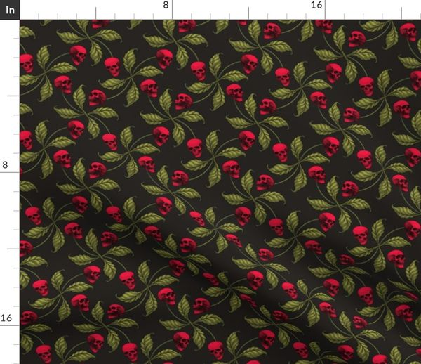 28236ff20894 ☆ ROCKABILLY CHERRY SKULL ☆ Large Scale - Spoonflower