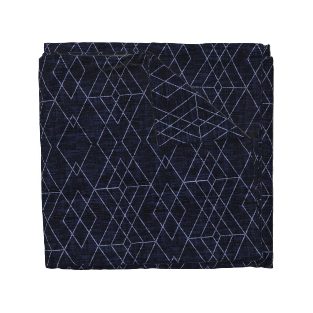 Wyandotte Duvet Cover featuring Geometric Grid - Navy texture  by kimsa