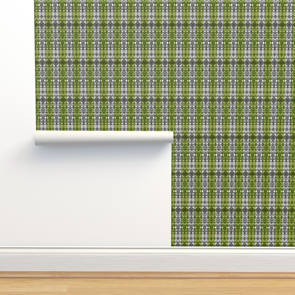 Isobar Durable Wallpaper featuring Tribal Stripe - Green & Gray by engravogirl