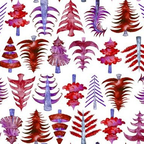 "8"" Red Watercolor Christmas Trees"
