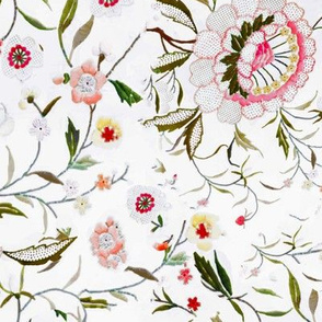 Pink green floral pink green flowers embroidered flowers botanical floral zinnias daisies