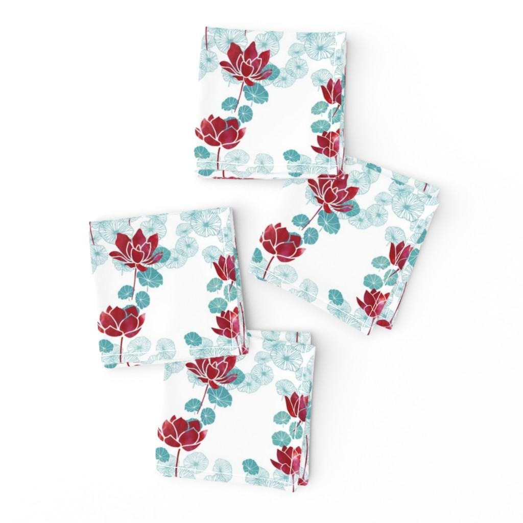 Frizzle Cocktail Napkins featuring Pure zen waterlily pattern in red and white by adenaj