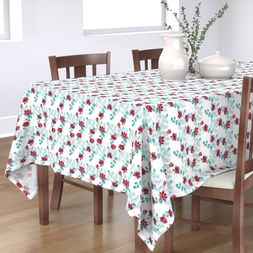 Bantam Rectangular Tablecloth featuring Pure zen waterlily pattern in red and white by adenaj