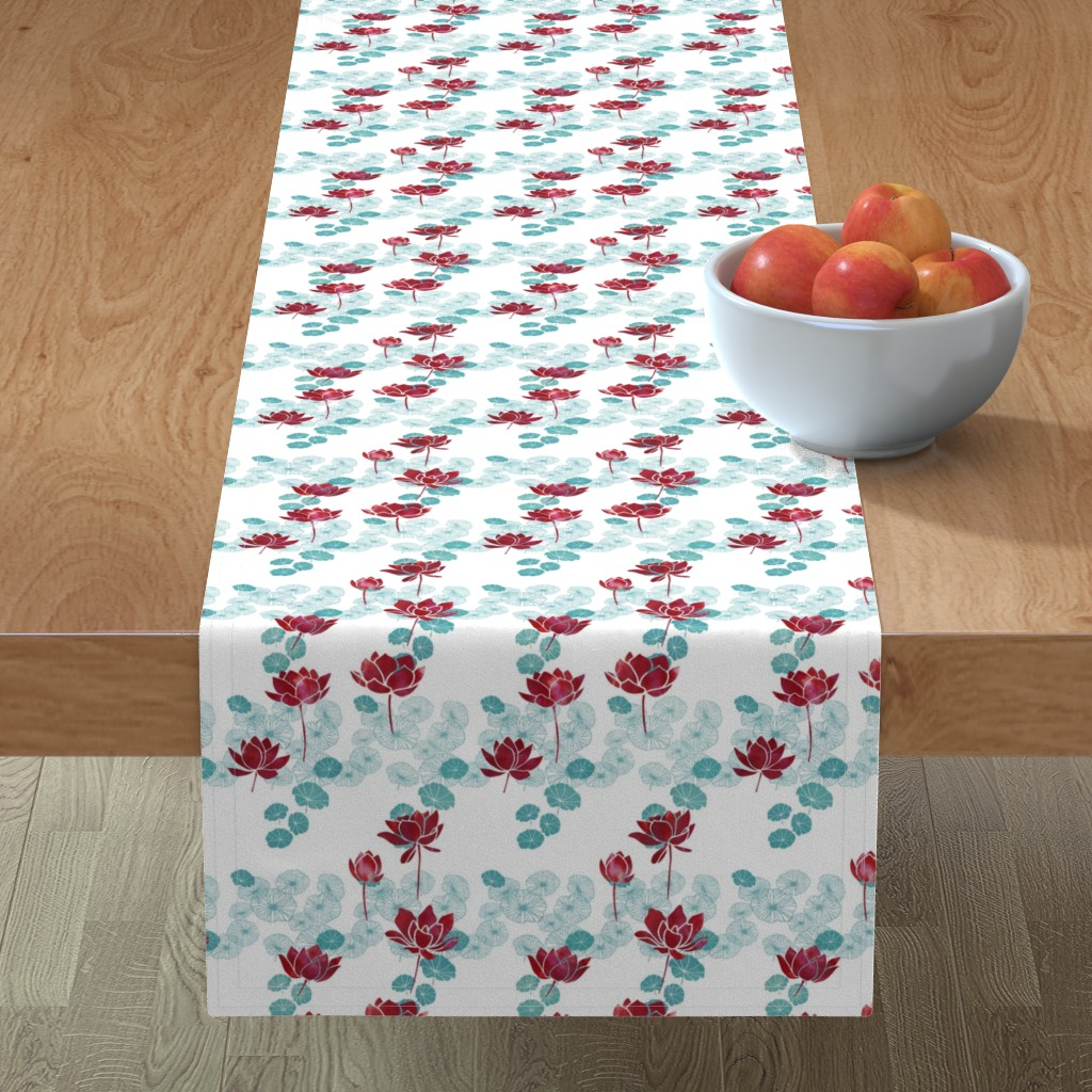 Minorca Table Runner featuring Pure zen waterlily pattern in red and white by adenaj