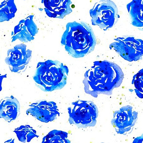 Watercolor blue roses