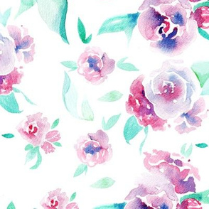 Watercolor floral - pink on white