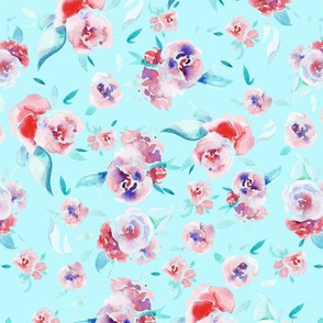 Watercolor floral - pink on light blue