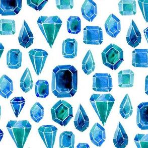 Watercolor gemstones - blue