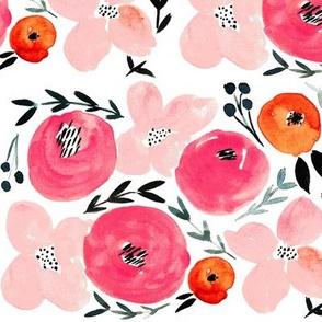 Pink Black Orange Modern Floral
