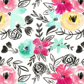 Bold Pink Watercolor Floral