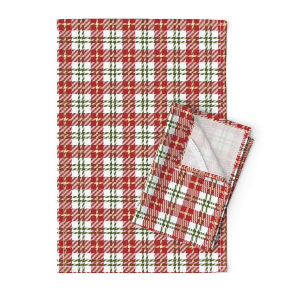 Orpington Tea Towels featuring Holiday Stripe Plaid #2 by thinlinetextiles