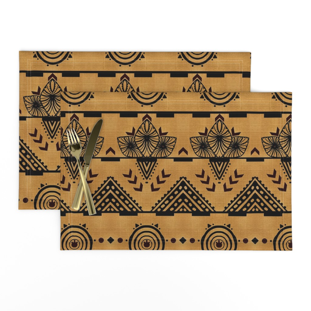 Lamona Cloth Placemats featuring Curiosity Cloth/Natural (Mustard Fade) -Antique Red Accents med/large  by franbail