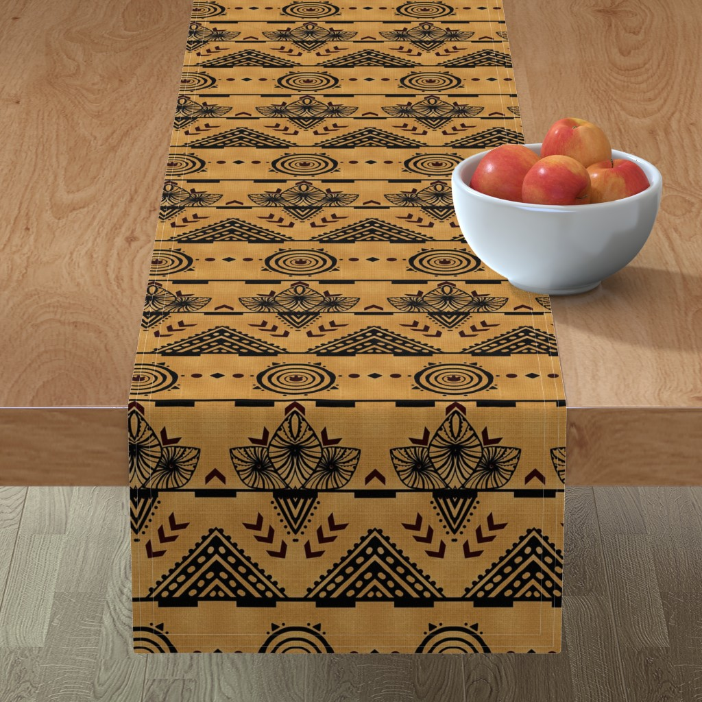 Minorca Table Runner featuring Curiosity Cloth/Natural (Mustard Fade) -Antique Red Accents med/large  by franbail