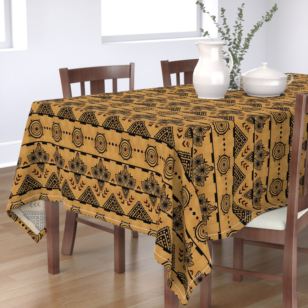 Bantam Rectangular Tablecloth featuring Curiosity Cloth/Natural (Mustard Fade) -Antique Red Accents med/large  by franbail