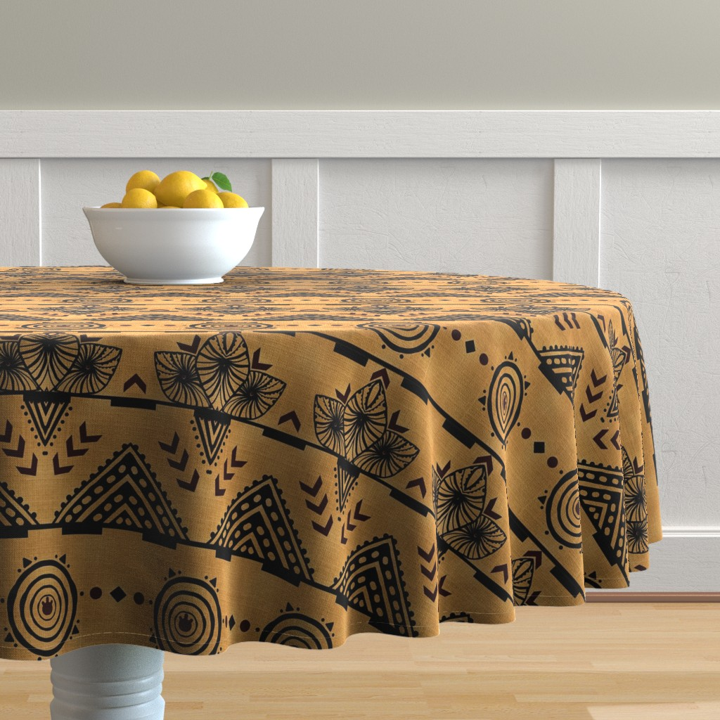 Malay Round Tablecloth featuring Curiosity Cloth/Natural (Mustard Fade) -Antique Red Accents med/large  by franbail