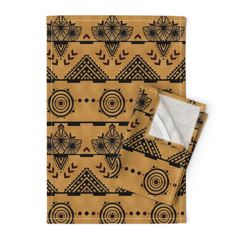 Orpington Tea Towels featuring Curiosity Cloth/Natural (Mustard Fade) -Antique Red Accents med/large  by franbail
