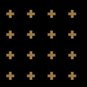 Gold on black plus sign cross