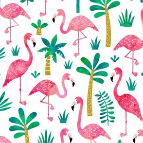 Flamingo Palm tree in watercolors