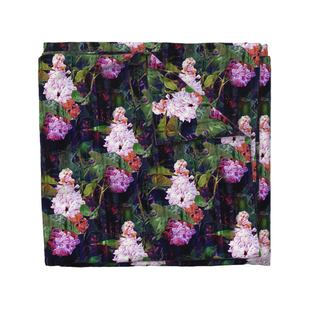 Wyandotte Duvet Cover featuring LARGE IMPRESSIONIST LILAC ORIGINAL by paysmage