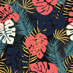 Summer seamless tropical pattern with colorful monstera palm leaves and plants on dark background