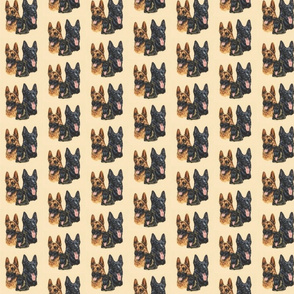 german shepherd dogs with puppy on yellow-brown background