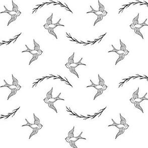 Birds Flying Black and White / flying birds / monochrome / black and white