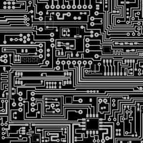 Circuit Board // Grey on Black // Small