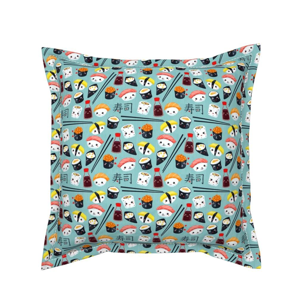Serama Throw Pillow featuring kawaii-sushi-blue by gaiamarfurt