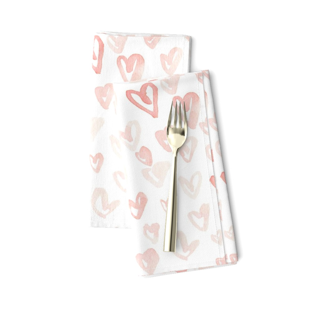 Amarela Dinner Napkins featuring Pale Pink Hearts by hipkiddesigns