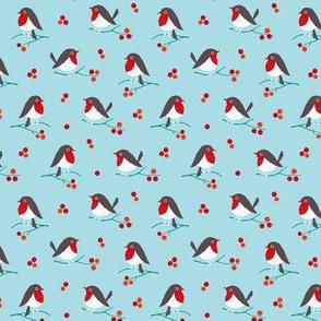 Christmas robin on blue (mini)