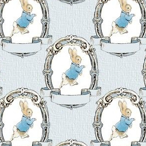 Peter Rabbit in Shabby Chic Oval Frame - Lt Blue