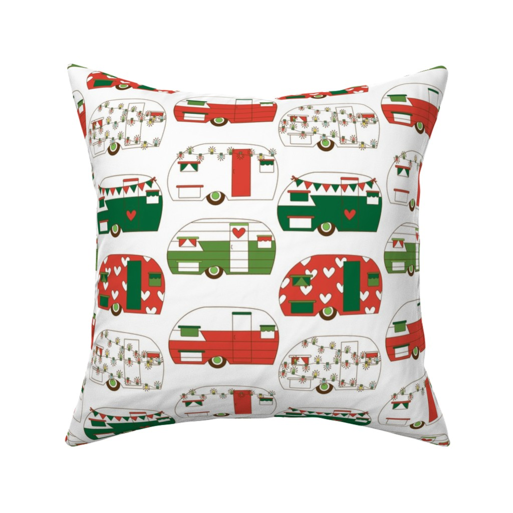 Catalan Throw Pillow featuring Christmas Campers by hipkiddesigns