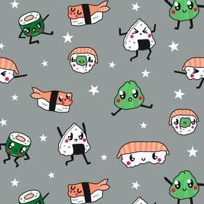 Kawaii Sushi with Stars in Grey