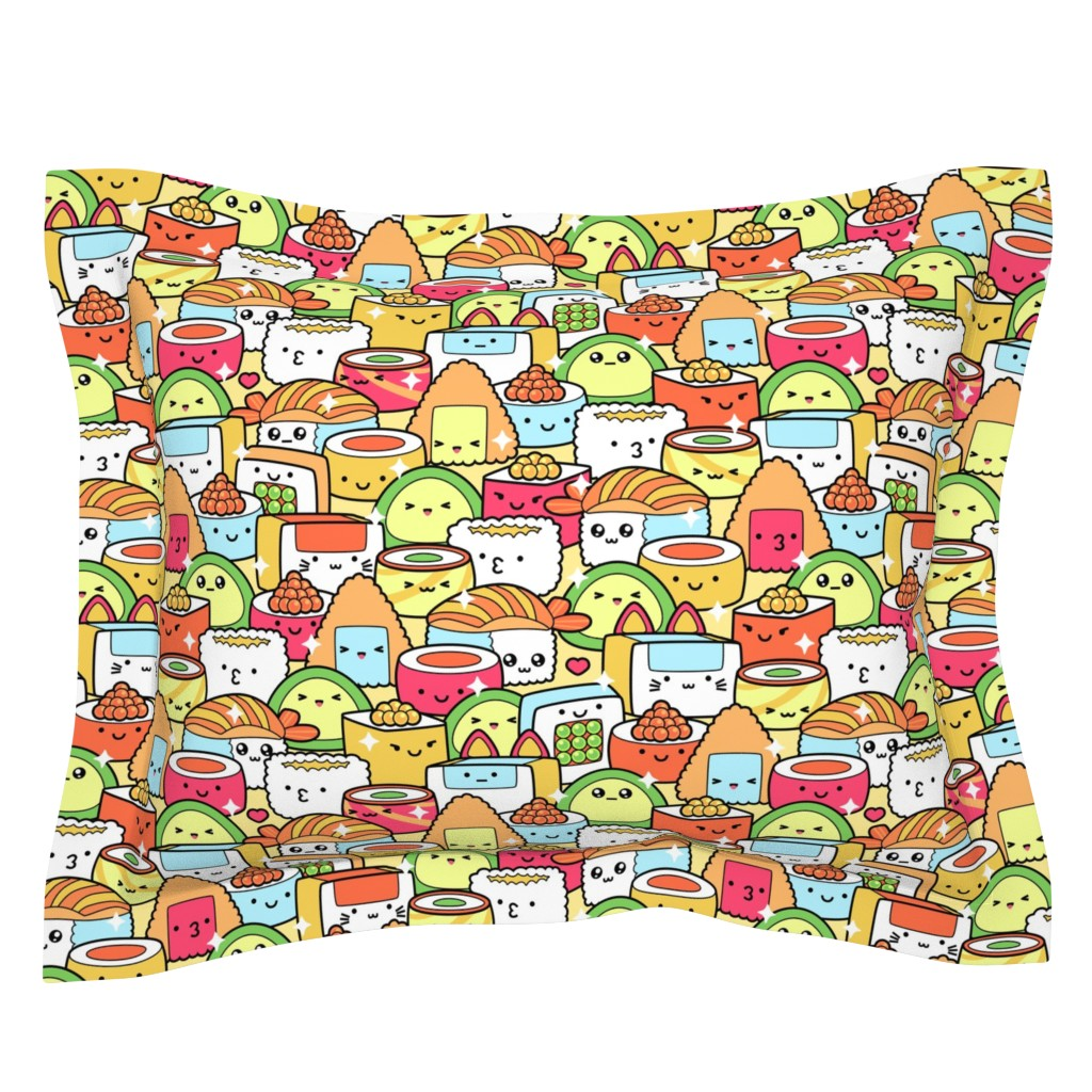 Sebright Pillow Sham featuring Colorful Kawaii Sushi with Sparkles by hollybender