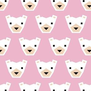 Geometric winter polar bears sweet Scandinavian animals gender neutral pink
