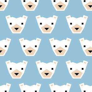 Geometric winter polar bears sweet Scandinavian animals blue