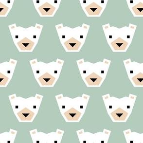 Geometric winter polar bears sweet Scandinavian animals gender neutral green