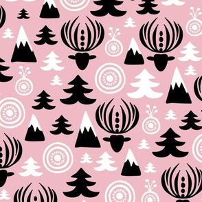Christmas winter wonderland reindeer girls pink