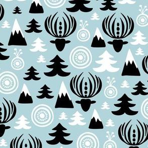 Christmas winter wonderland reindeer blue