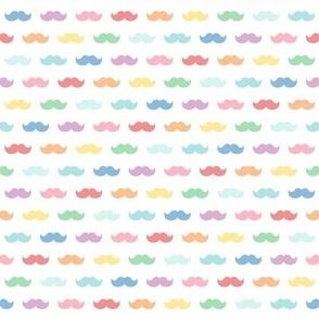 pastel rainbow fun moustaches