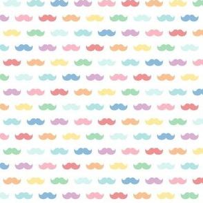 pastel rainbow moustaches