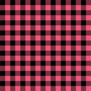 buffalo plaid 1in hot pink and black