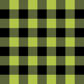 buffalo plaid 2in lime green