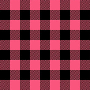 buffalo plaid 2in hot pink and black